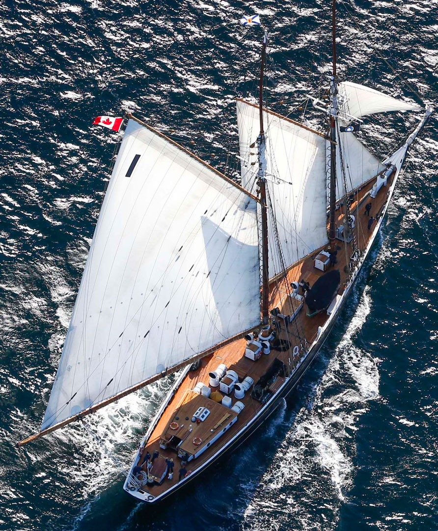 aerial view of the ship Bluenose II